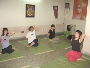 During Yoga Class - students from overseas